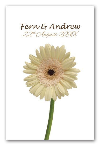 White Gerbera wedding  invitation
