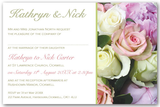 Peony and rose bouquet invitation postcard