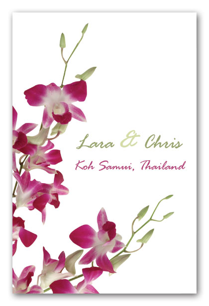 Singapore Orchids FB31 contemporary wedding invitations and