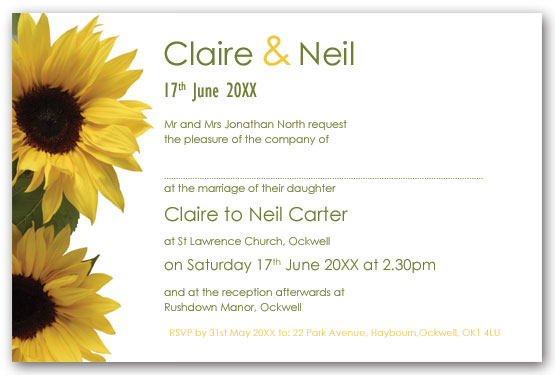 Sunflowers invitation  postcard