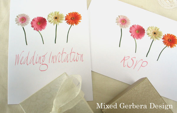 Mixed colour gerbera wedding stationery