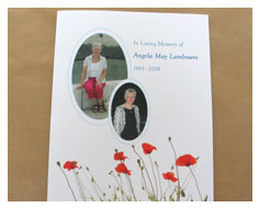 Floral order of service booklets for funerals from MIllbank and Kent Funeral stationery