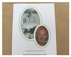Photographic order of service booklets from Millbank and Kent funeral stationery