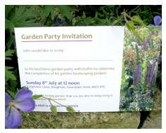 Garden party invitation postcards from Millbank and Kent