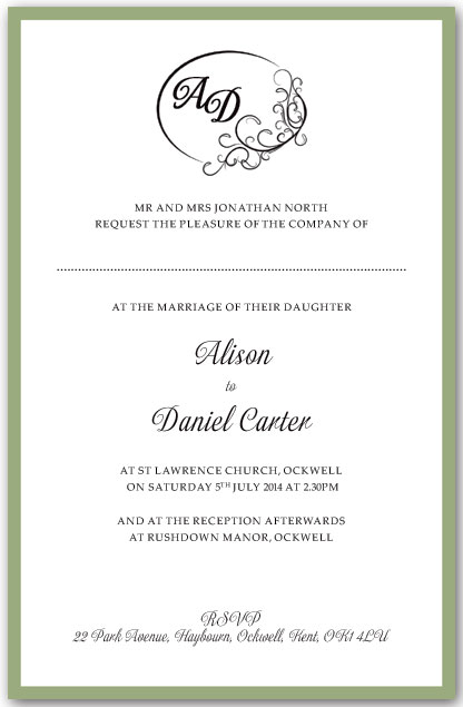Didier Monogram Wedding Invitation