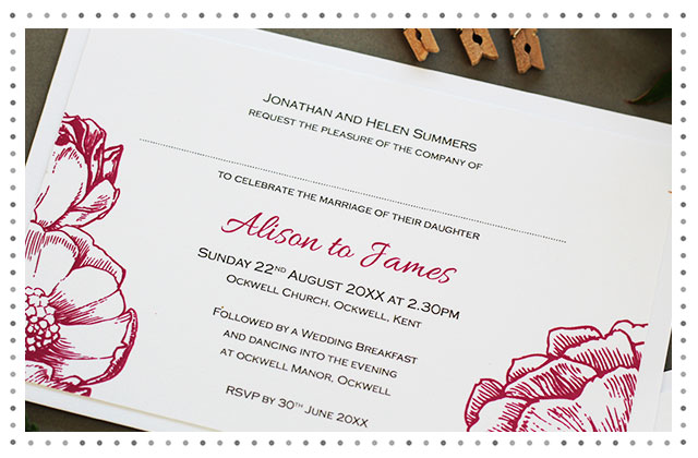 Contemporary Rose Wedding Invitation