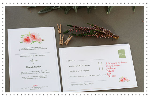 Louis Watercolour Floral Wedding Stationery