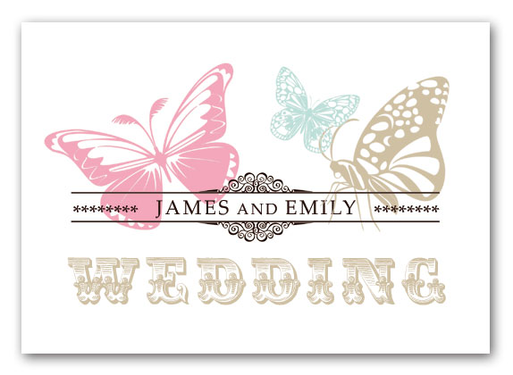 Vintage Butterfly Wedding Invitation