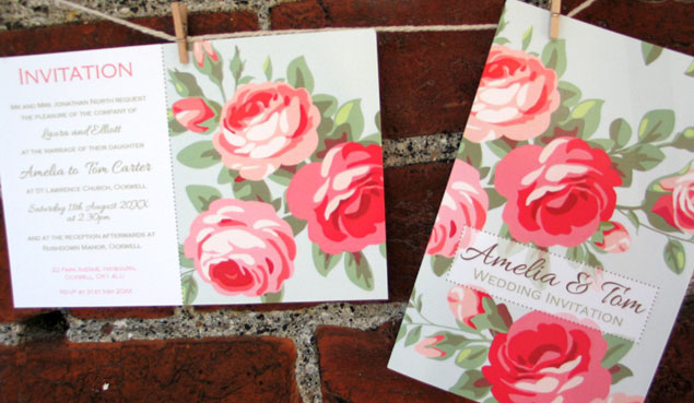 Kitsch Vintage Rose Wedding Stationery