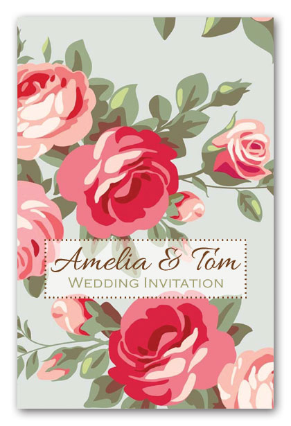 Kitsch Vintage Rose Weddding Invitation