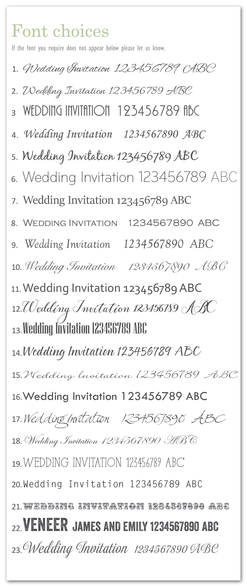 Font options for Wedding Invitations :: contemporary wedding ...