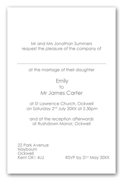 Wedding invitation wording examples contemporary for Examples of wedding invitation wording uk