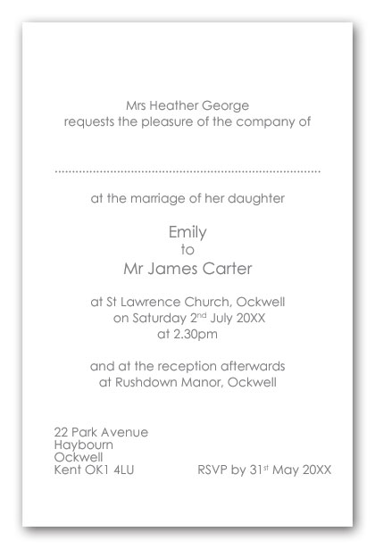wedding invitation wording brides mother as host day contemporary