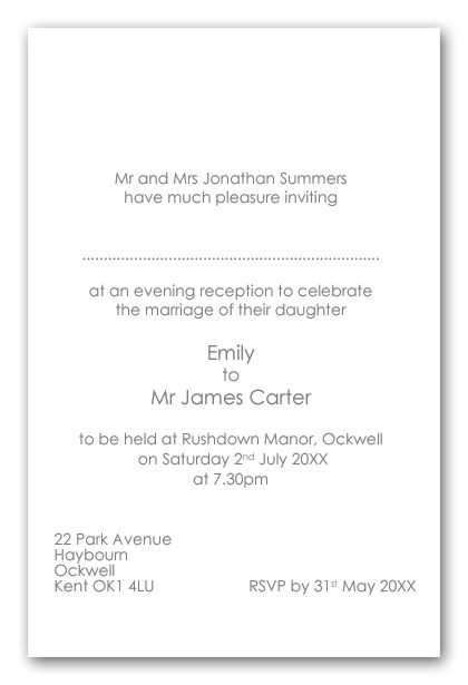 Wedding invitation wording brides parents as hosts for Evening wedding invitation wording from bride and groom