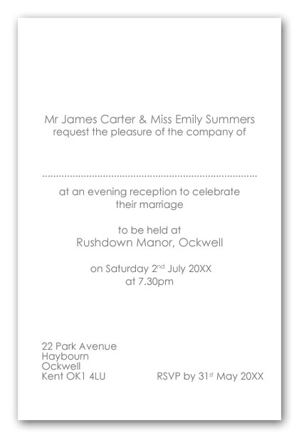 Wedding invitation wording wedding invitation wording for Evening wedding invitation wording from bride and groom