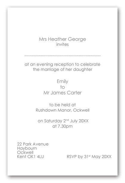 Wedding Invitation Wording Brides Mother as host evening