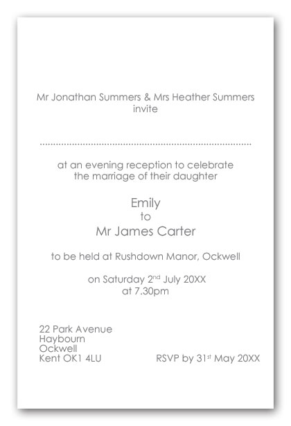 Wedding Invitation Wording Brides Divorced Parents Not Re