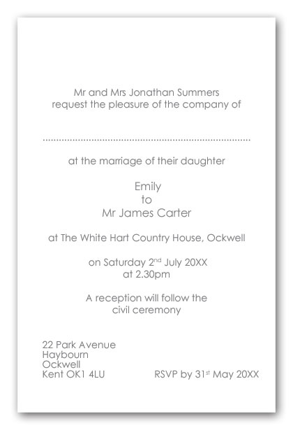 wedding invitation wording wedding invitation wording With wedding invitation wording civil ceremony reception same venue