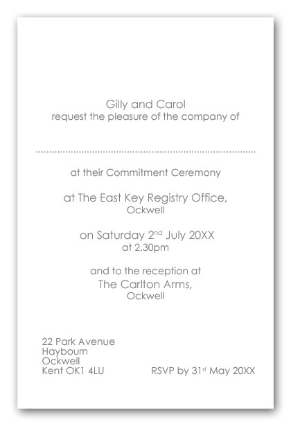 Wedding Invitation Wording Civil Partnerhship Ceremony Example 2a