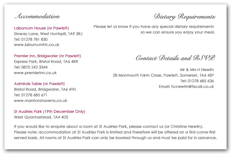 Wedding Invitation Wording, Information example 1 ...