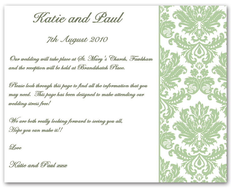Wedding Invitation Wording, Information Example 1