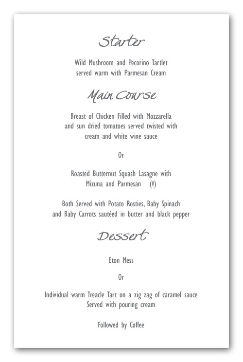 Wedding invitation wording menu layout example contemporary menu example stopboris Choice Image