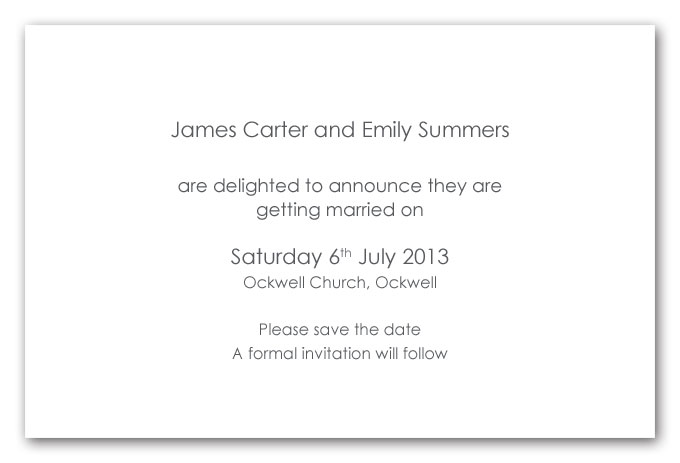 Wedding invitation wording samples save the date matik for for Examples of wedding invitation wording uk